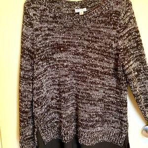 CROFT & BARROW sweater w/ chiffon underlay-sz M